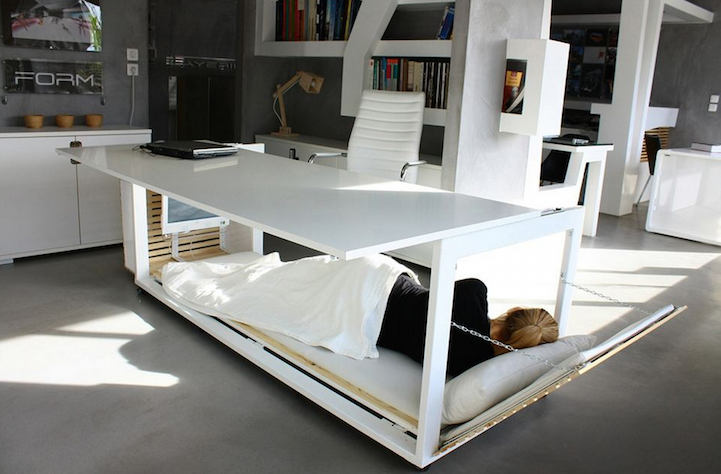 Ingenious Desk Converts into Cozy Bed for Office Napping