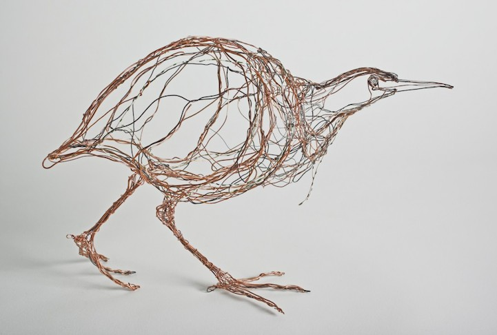 3d wire bird sculptures look incredibly like 2d drawings for How to make a 3d bird sculpture