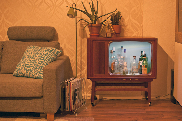 Quirky Diy Transforms Obsolete Tv Into Colorful Liquor Cabinet