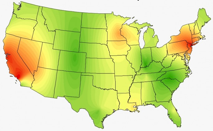 Heat Maps Show The Surprising Musical Preferences Of The United States - Heat map of us wealth