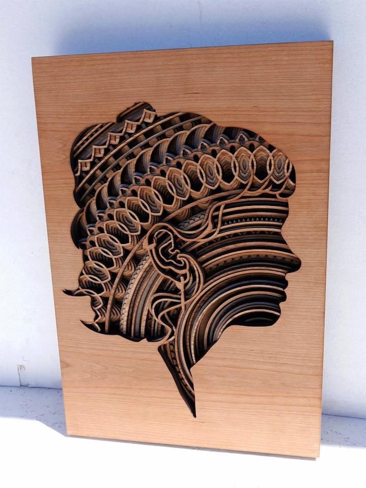 Stunning New Laser Cut Wood Relief Sculptures By Gabriel