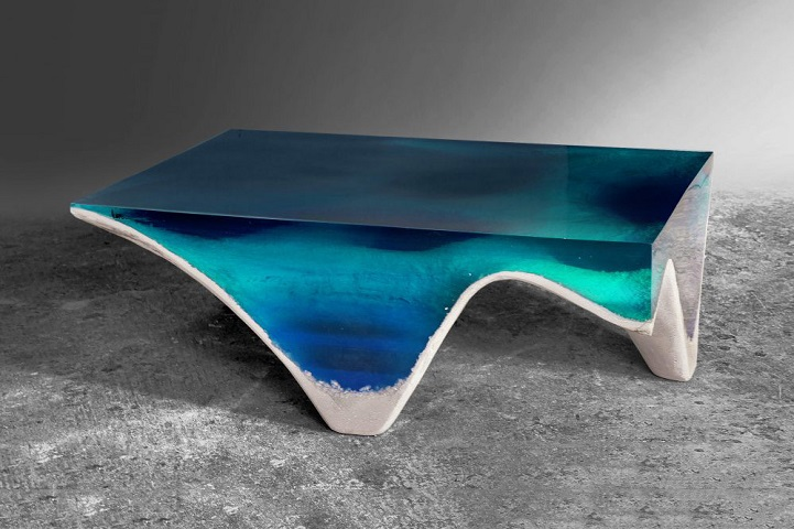 Delightful Elegant Marble And Acrylic Glass Table Mimics The Layered Depth Of The  Ocean Floor