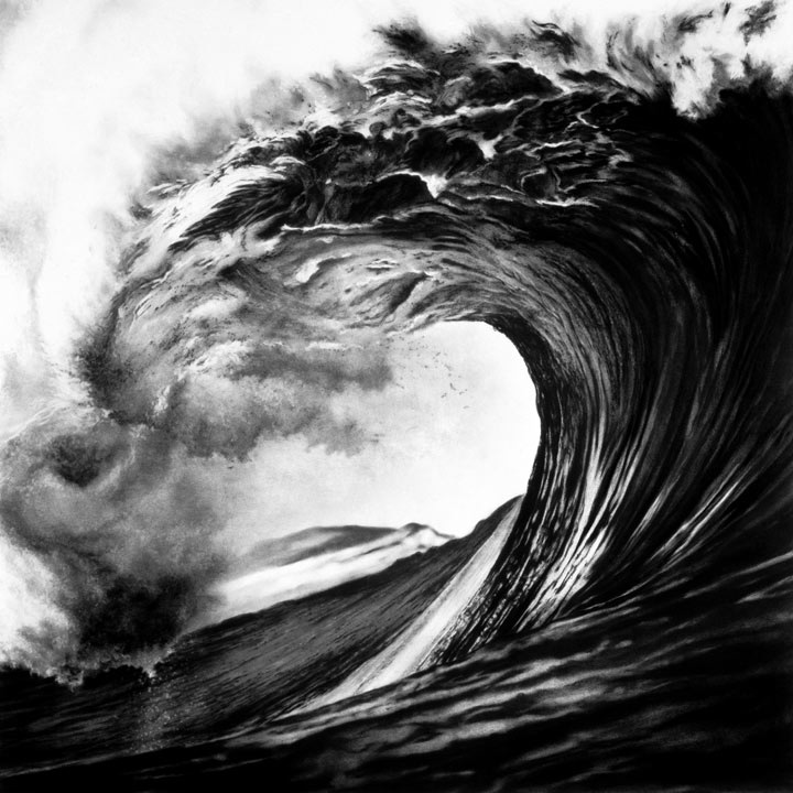 Photorealistic Charcoal Drawings of Epic Waves
