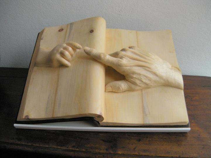 Life Emerges Inside Elaborately Carved Wooden Books