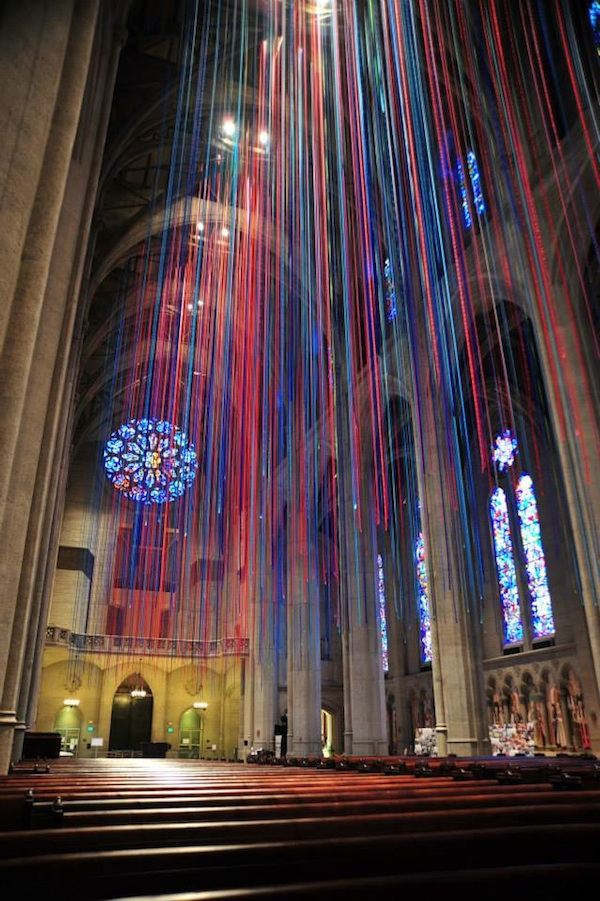 20 Miles Of Stained Glass Colored Ribbon Hang Inside A Sf