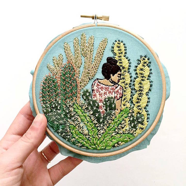 Illustrator Creates Exquisitely Embroidered Scenes That Look