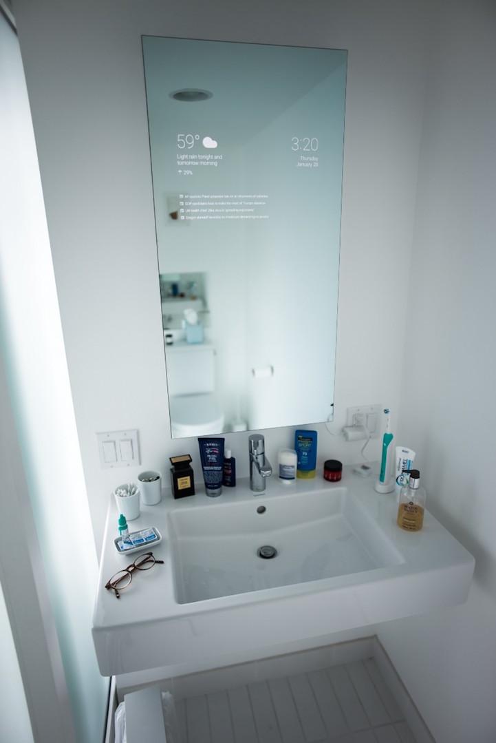 Man Transforms His Bathroom Mirror Into A Hi Tech Device