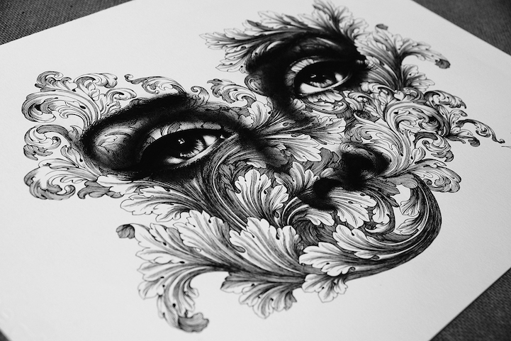 Drawing Lines In Yed : Exquisite pen drawings created with thousands of tiny dots