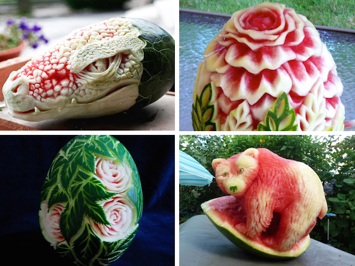 Watermelon Sculptures That Are Too Skillfully Crafted To Eat - Incredible sculptures carved watermelon
