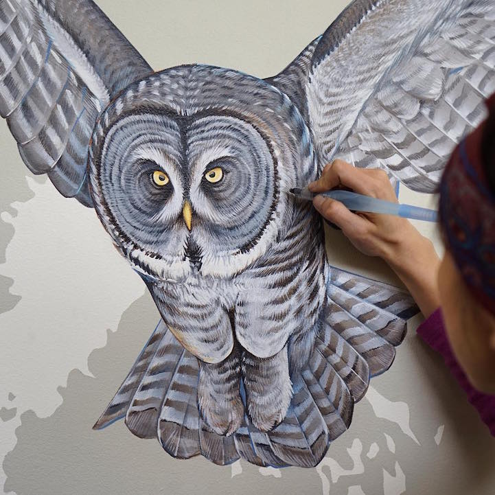 Scientific Illustrator Hand Paints Giant Mural Featuring 243 Modern