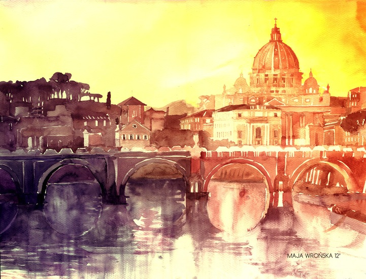 Beautiful Watercolor Paintings of European Landmarks - photo#10