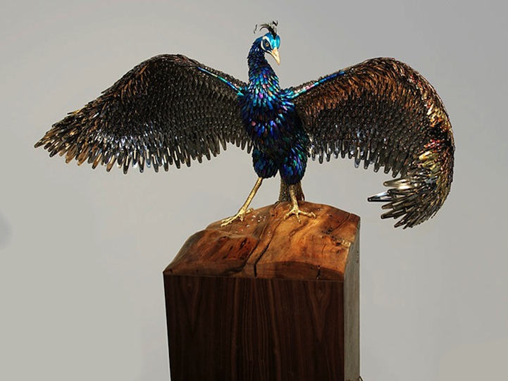 Gorgeous Peacock Sculptures Made Of Recycled Beauty Products