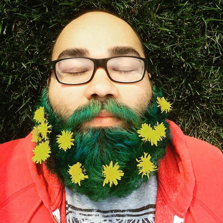 Man Flower Beard Trend
