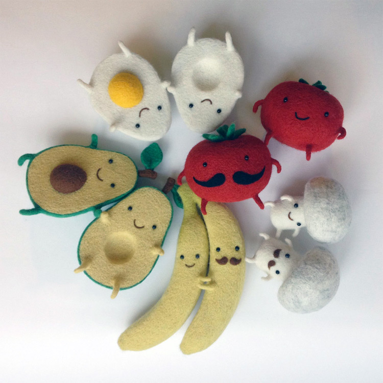 Unbreakable Bond Between Adorable Felted Food Characters