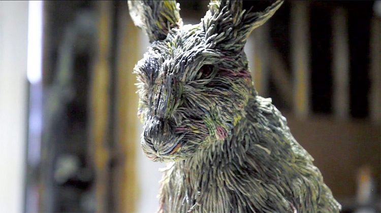 Japanese Artist Creates Rabbit Of Newspaper