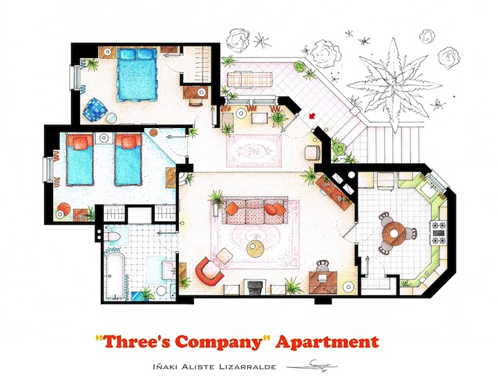 Detailed floor plan drawings of popular tv and film homes threes company malvernweather Images