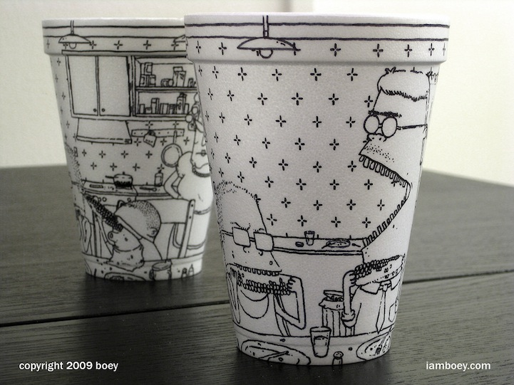 Unique Amazingly Detailed Illustrations Drawn on Foam Coffee Cups NT08