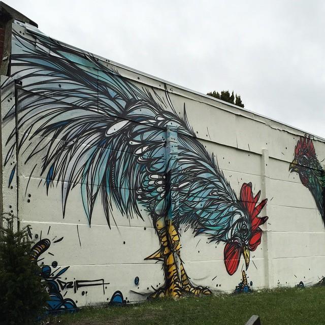 Stunning Animal Street Art Made With Geometric Lines By Dzia