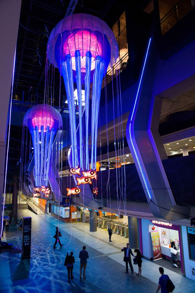 Jellyfish chandeliers and flowing river of light at vivid sydney 2015 aloadofball Image collections
