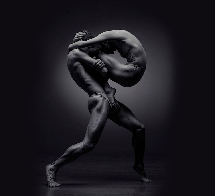 Striking black white portraits of elegant dancers caught in captivating motion