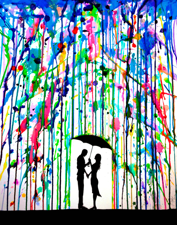 a6b7460f294455 Colorful Dripping Wet Ink Drawings