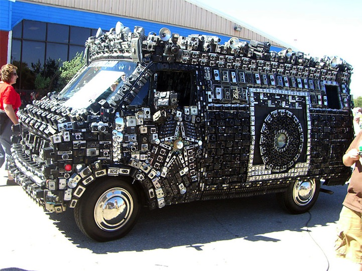 Van Covered with Cameras Documents Astonished Onlookers
