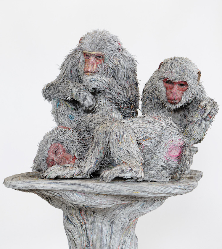 Realistic Paper Sculpture Of Monkies