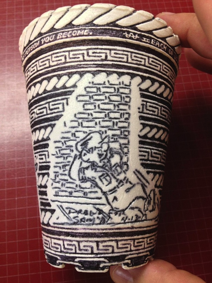 Super Man Finds Incredibly Detailed Pen Drawings on Styrofoam Cup GY85