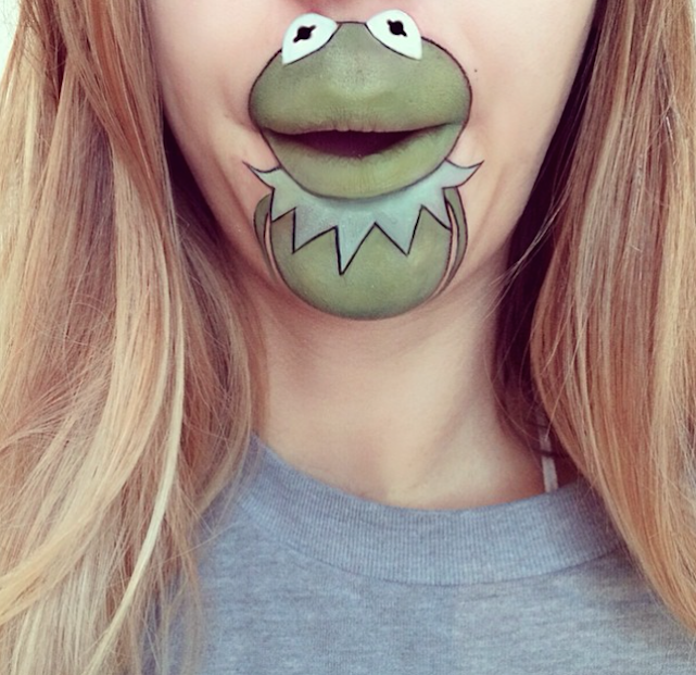 kermit the frog laura jenkinson lip art cartoon character makeup mouth lipstick