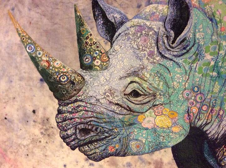 Excellent Gorgeous Black Rhino Recreated with Intricate Fabric Collage GI36