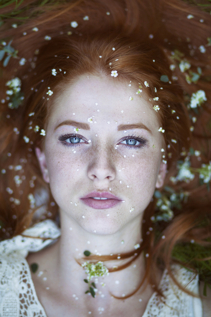 Striking Natural Hair Looks For The 2015 Bride: Striking Portraits Of Gorgeously Freckled Redheads By Maja