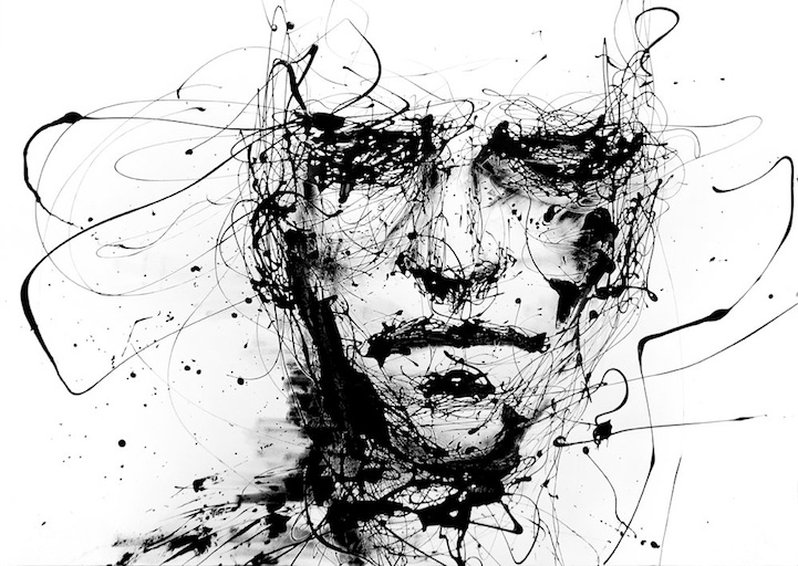 Powerful dripping paint portraits by agnes cecile for Black and white painting techniques