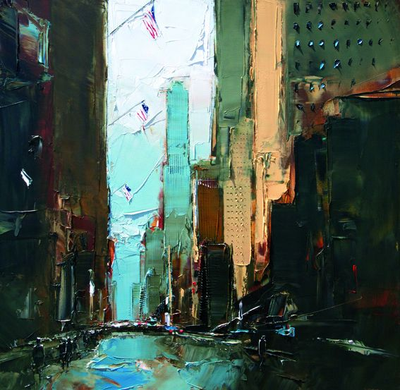 Multi textured paintings of new york for Castan peintre