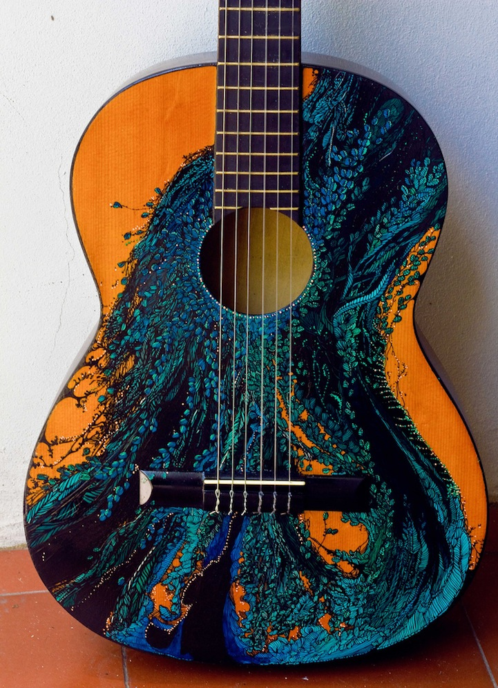 Gorgeous Ink Illustrations Painted On Guitars