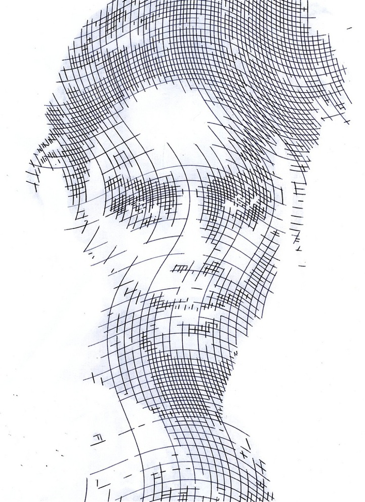 Line Drawing Photo : Crosshatched ink portrait stencils