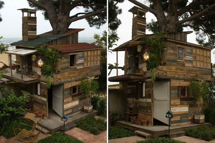 Giant tree house built with recycled materials for Reclaimed house materials