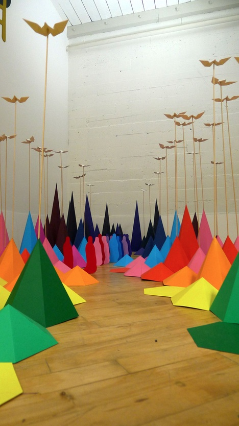 beautiful new origami and wood landscape installation