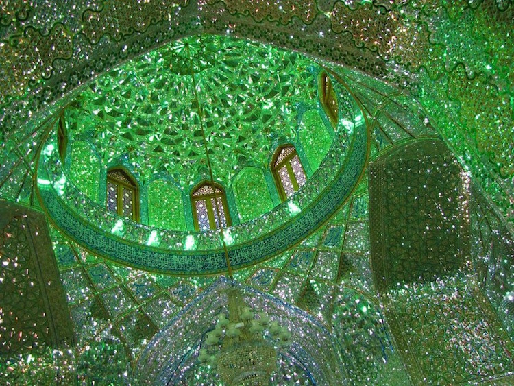 Glittering Glass Covers The Inside Of Mosque