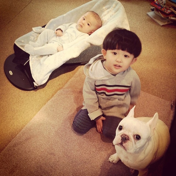 Adorable Japanese Boy And His French Bulldog Welcome A