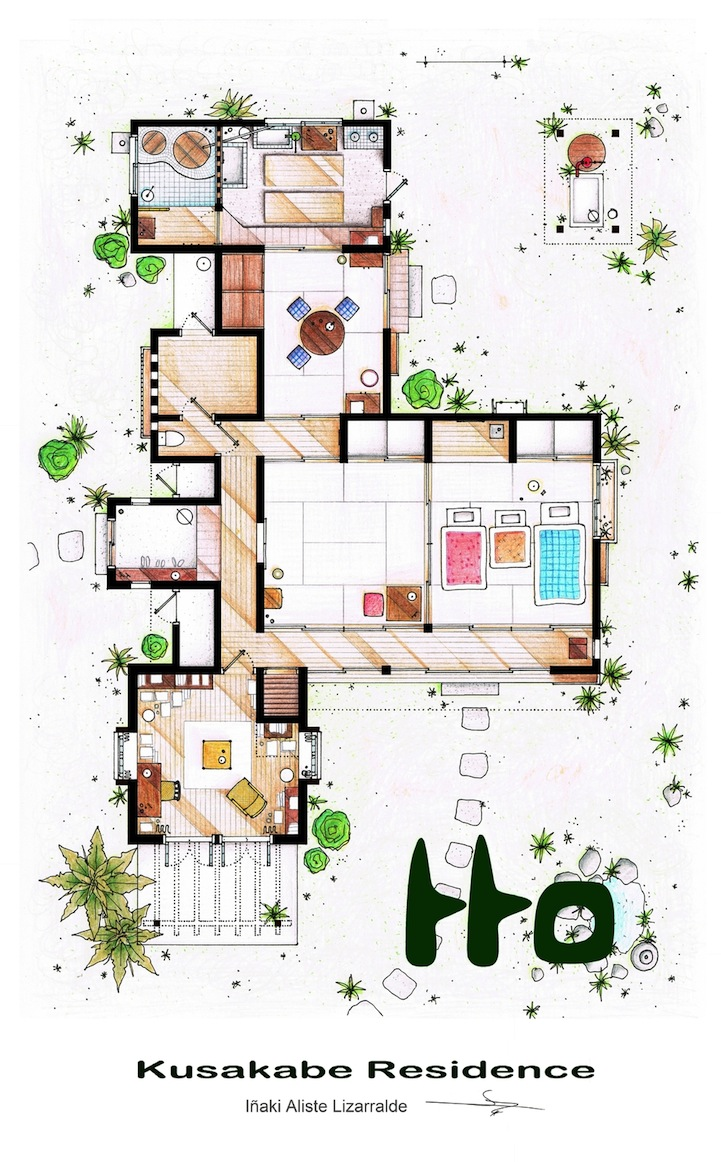 Detailed floor plan drawings of popular tv and film homes for House drawing plan layout