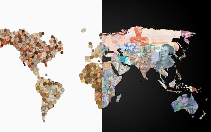 Two World Maps Created with a Country's Own Currency on money employment, money mutual commercial, money market specials, money resources, money home, money on the table, money search, money freedom, money twitter, money dance event, money city, money photograph, money miss road, money man, money plan, money chart, money from the world, money education,