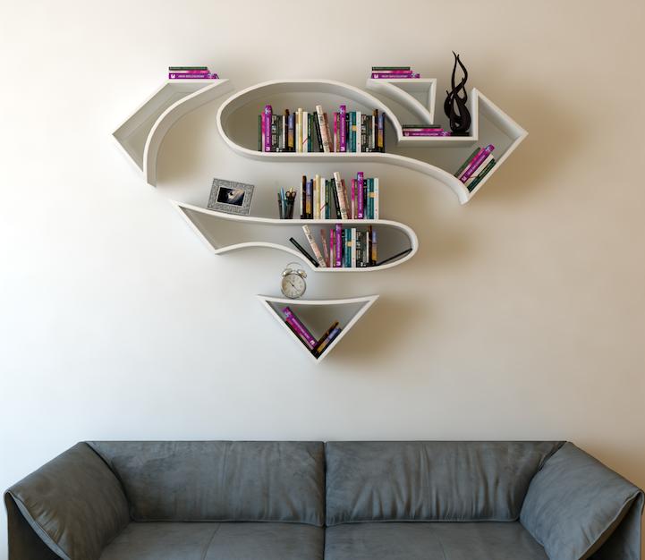 bookshelves shaped like superhero logos add a special flair to any