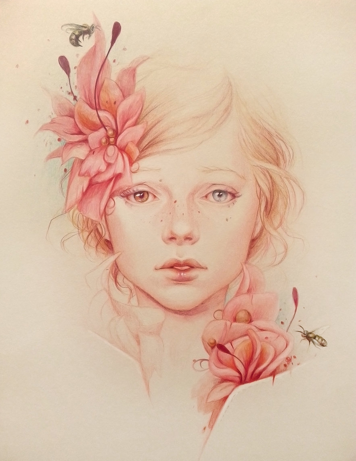 Alluring Female Colored Pencil Portraits by Jennifer Healy