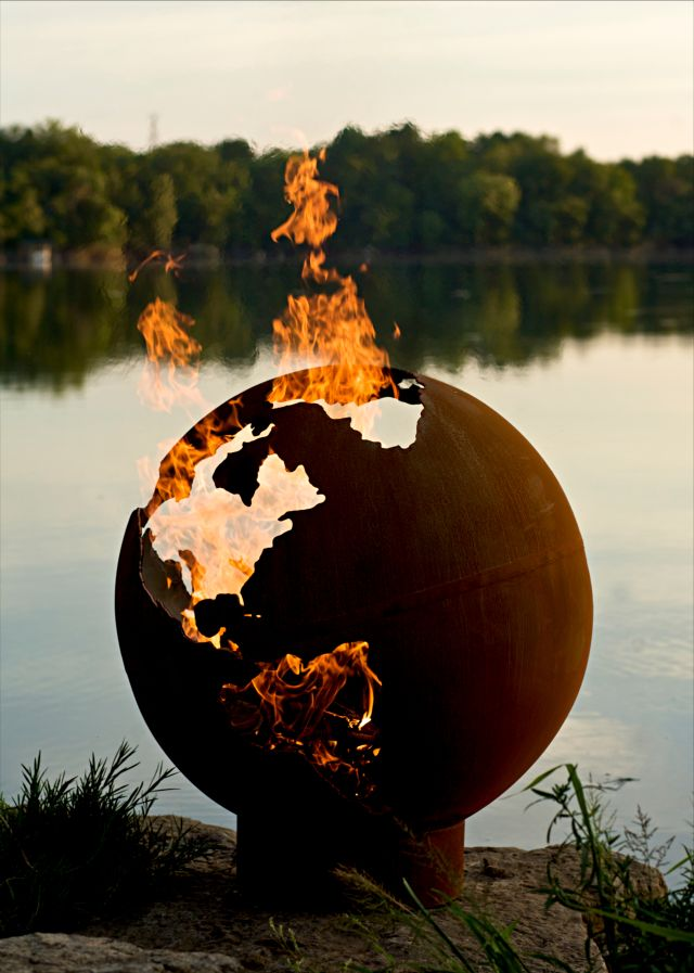Planet Earth On Fire Pit