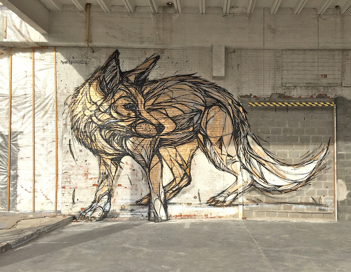 Single Line Drawing Artists : Stunning animal street art made with geometric lines by dzia