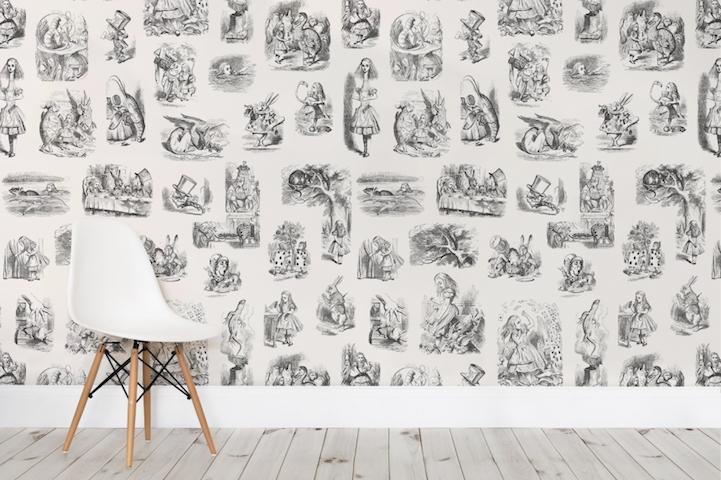 Mad hatter wallpaper design : Whimsical quot alice in wonderland wallpaper brings original