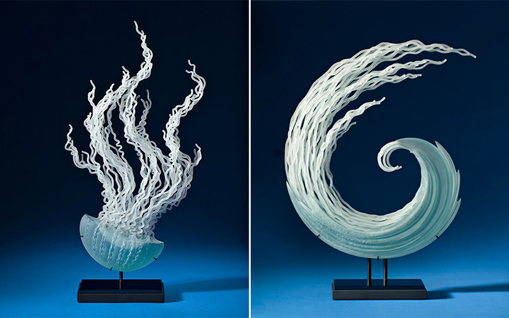 flowing glass sculptures inspired by the ocean and. Black Bedroom Furniture Sets. Home Design Ideas