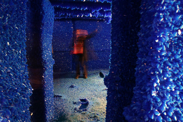 magical blue crystals cover an entire room