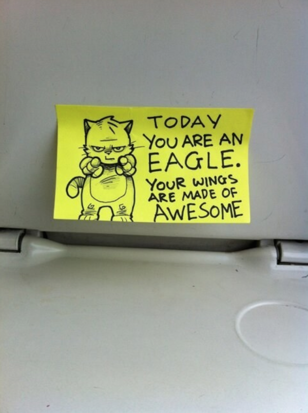 Hilarious Post It Notes Left On The Train For Motivation