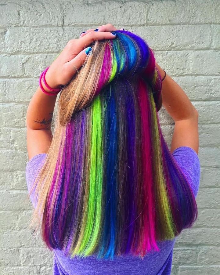 Hidden Rainbow Hair Trend Conceals Vibrant Colors